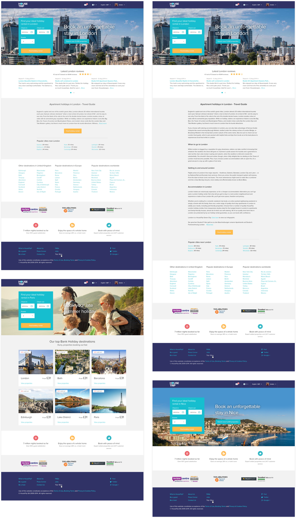 HouseTrip Landing pages
