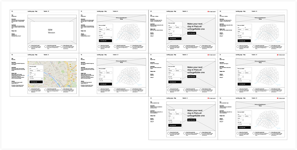 HouseTrip landing page Wireframes